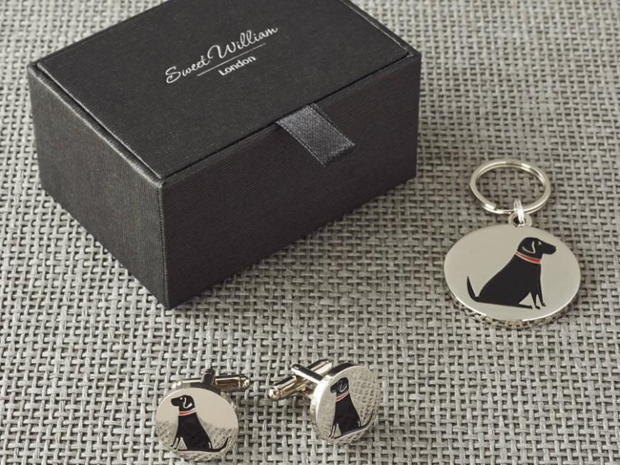 Black Labrador Cufflinks And Dog Tag Set