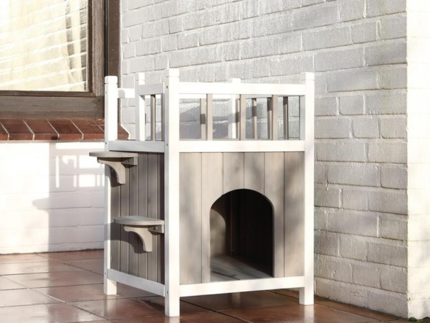Stylish Wooden Cat Home with Balcony